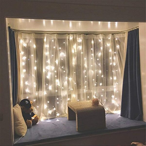 Twinkle Star 300 LED Window Curtain String Light Wedding Party Home Garden Bedroom Outdoor Indoor Wall Decorations, Warm White