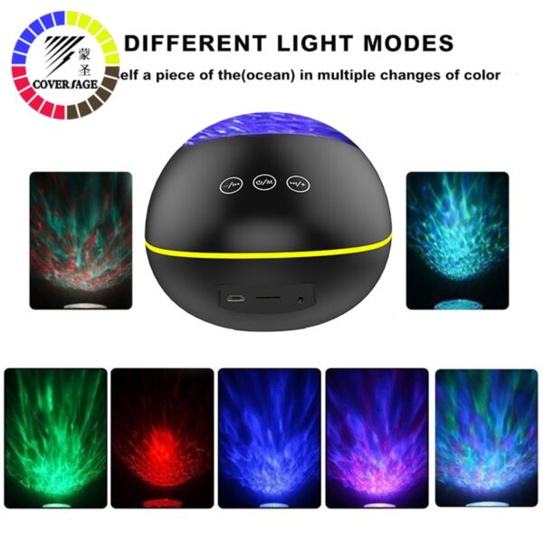 Coversage Bluetooth Ocean Wave Projector LED Night Light With USB Remote Control Music Player Speaker TF Card Aurora Projection